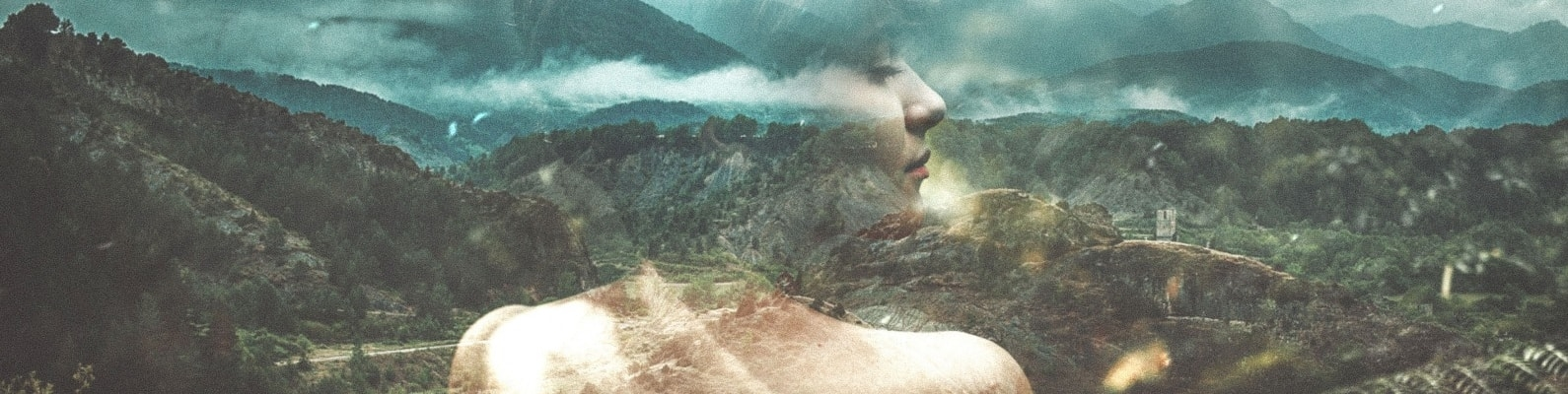 double exposure, forest, clouds, river, girl, hills